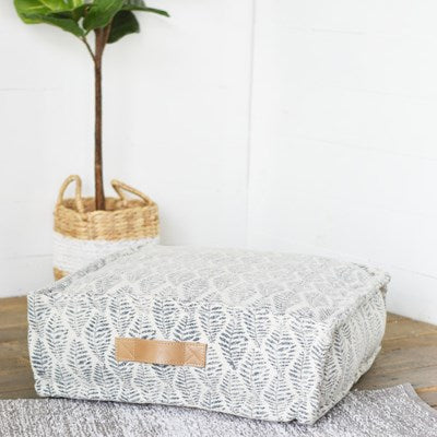 Fern Blue Pouf