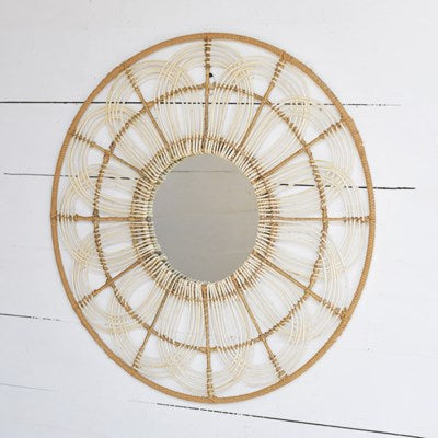 NATURAL RATTAN WEAVE MIRROR
