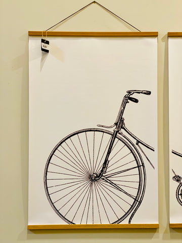 Extra Large Bike Print with Wood Frame