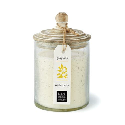 Gray oak soy wax candle Winterberry