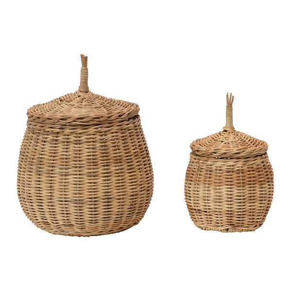 Hand-Woven Wicker Baskets with Lids