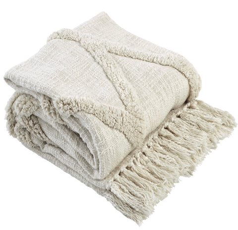 Diamond Cotton Throw in Ivory