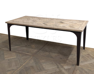 Reclaimed Elm Parquet Top Dining Table