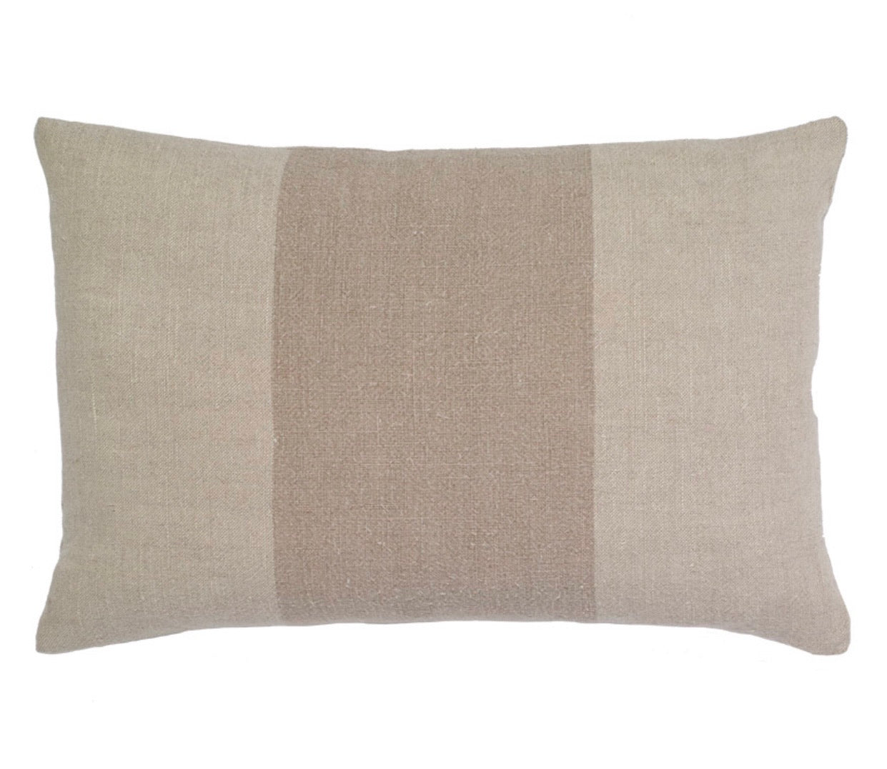 Natural Linen Stripe Pillow - rectangular