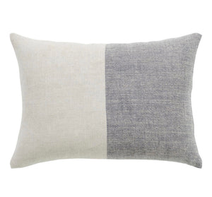 Two Tone Linen Pillow in Light Grey