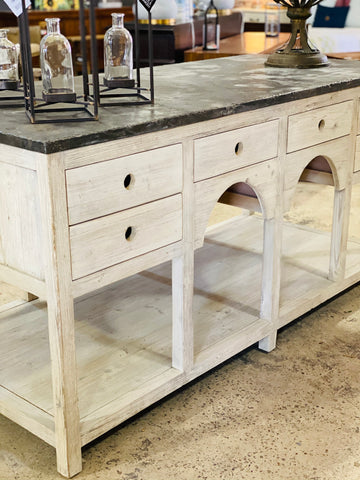 Kitchen Island Antique White with Stone top