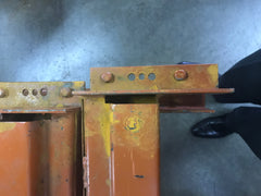 Rusty pallet rack beams