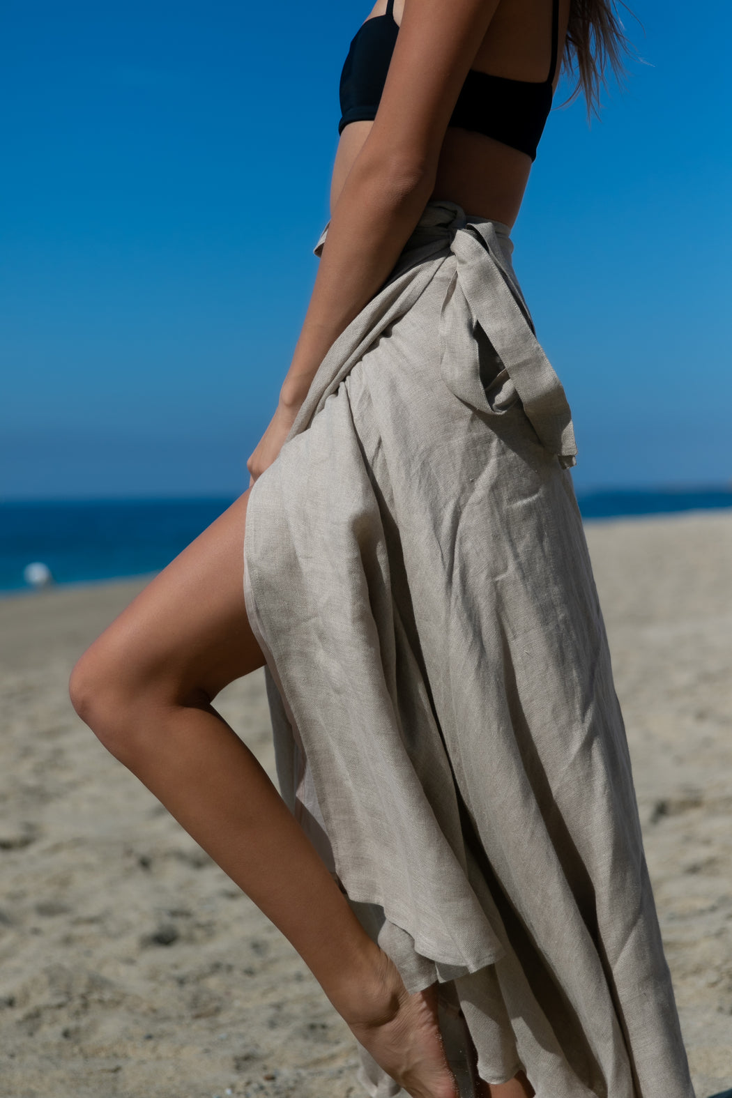 The Swamis Wrap Skirt in Beige
