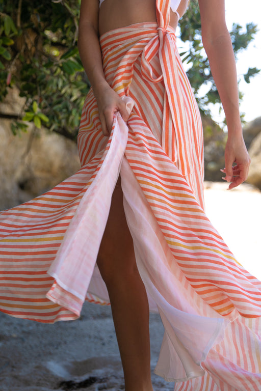 The Swamis Wrap Skirt in Sunset Stripe