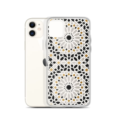 Coque pour iPhone - Moroccan zelij Gold & Black