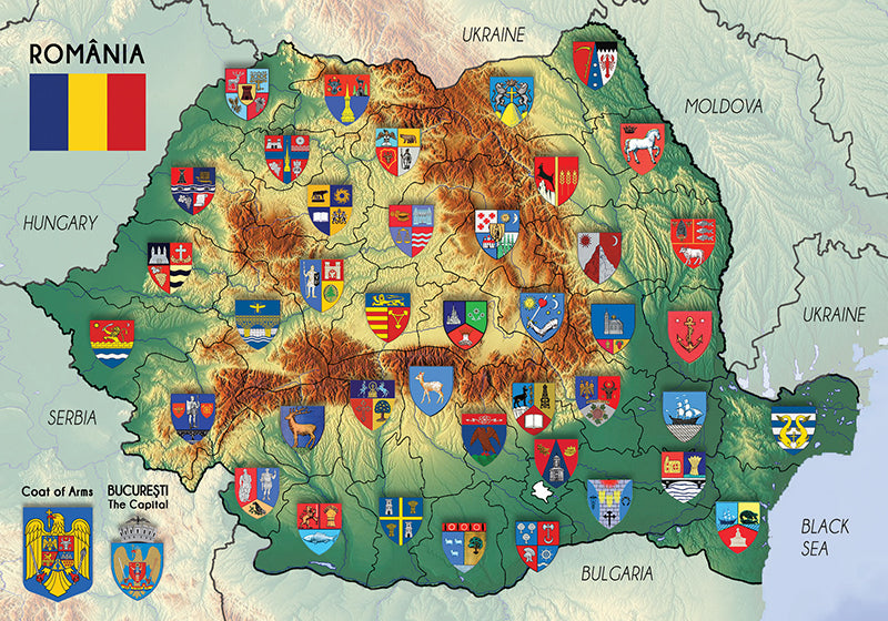 Photo: Romania Map - the coats of arms of the counties - top quality approved by www.postcardsmarket.com specialists