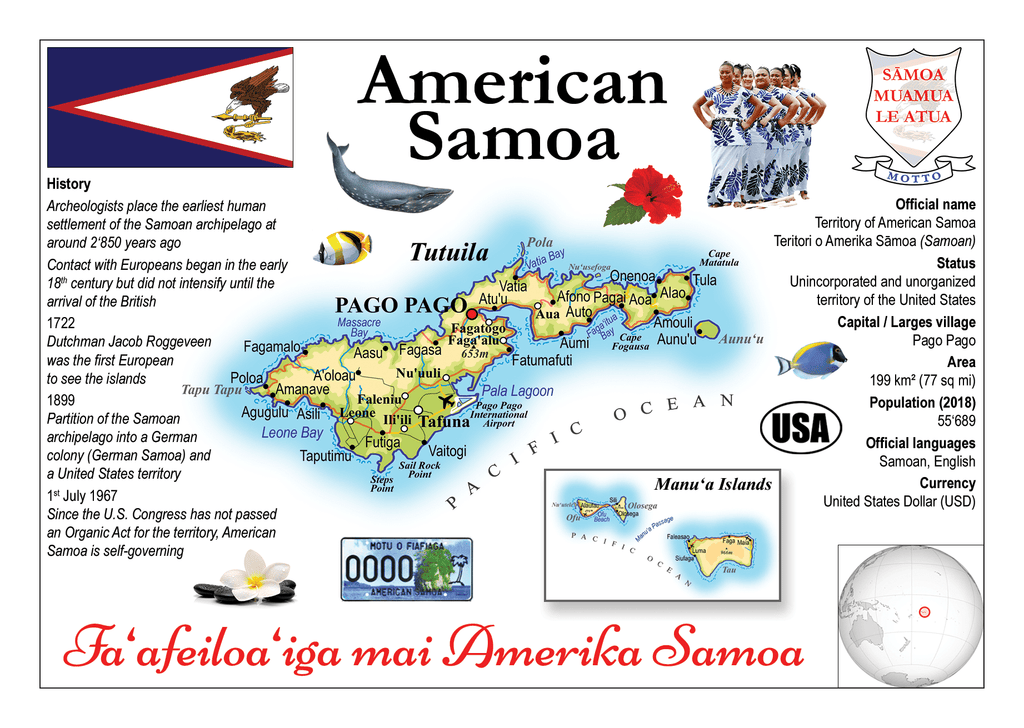 Oceania | American Samoa MOTW - top quality approved by www.postcardsmarket.com specialists
