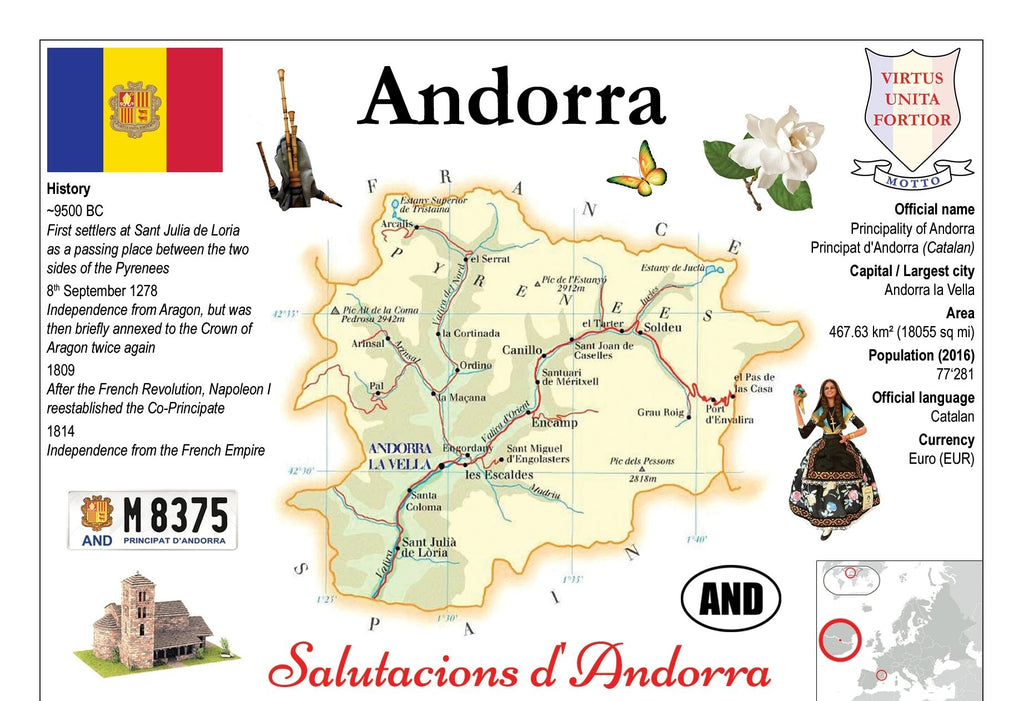 Europe | Andorra MOTW - top quality approved by www.postcardsmarket.com specialists