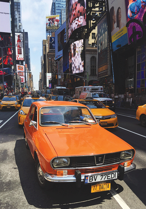 10 x Dacia 1300 in Times Square
