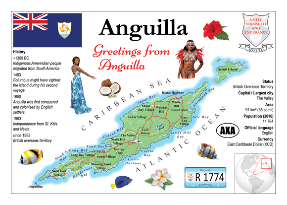 North America | Anguilla MOTW - top quality approved by www.postcardsmarket.com specialists