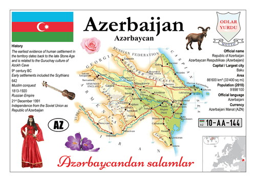 Asia | Europe | Azerbaijan MOTW - top quality approved by www.postcardsmarket.com specialists