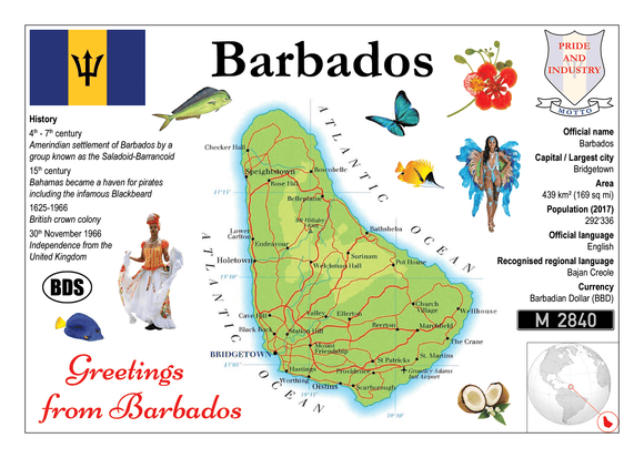 North America | Barbados MOTW - top quality approved by www.postcardsmarket.com specialists