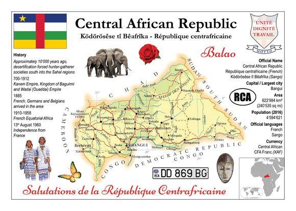 AFRICA | Central African Republic MOTW - top quality approved by www.postcardsmarket.com specialists