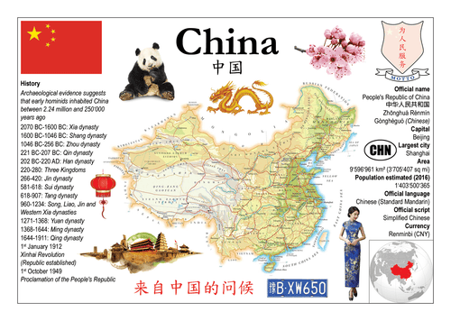Asia | China MOTW - top quality approved by www.postcardsmarket.com specialists