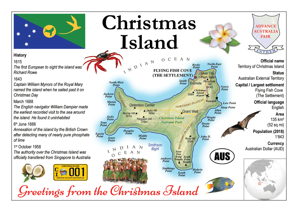 Christmas Island MOTW - top quality approved by www.postcardsmarket.com specialists