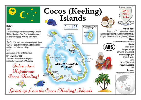 Oceania | Cocos (Keeling) Islands MOTW - top quality approved by www.postcardsmarket.com specialists