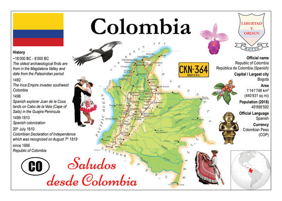 South America | Colombia MOTW - top quality approved by www.postcardsmarket.com specialists