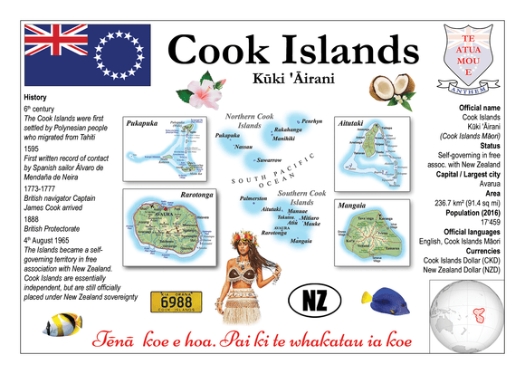 Oceania | Cook Island MOTW - top quality approved by www.postcardsmarket.com specialists