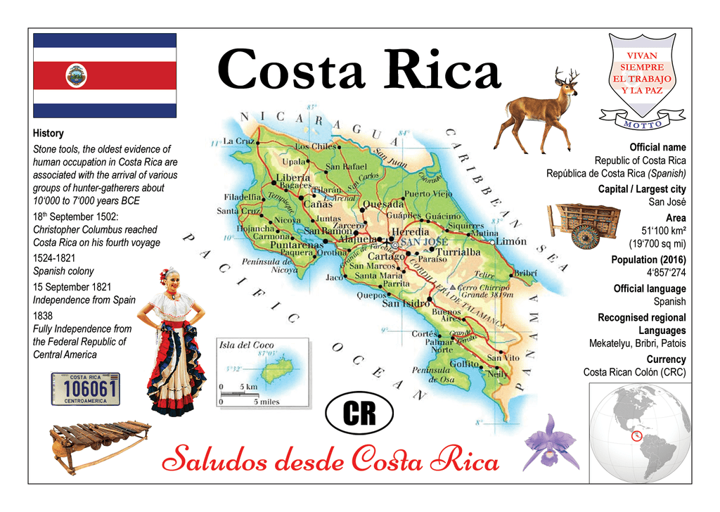 Costa Rica MOTW - top quality approved by www.postcardsmarket.com specialists