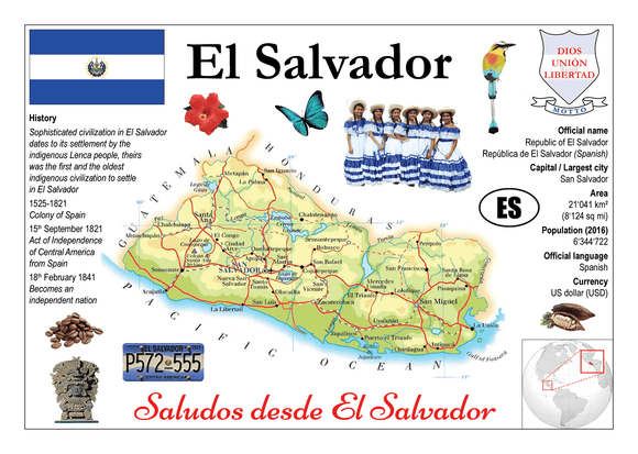 North America | El Salvador MOTW - top quality approved by www.postcardsmarket.com specialists