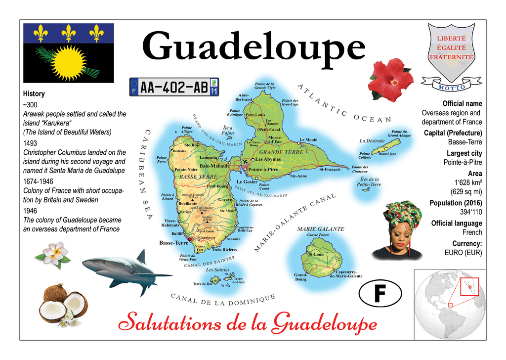 North America | Guadeloupe MOTW - top quality approved by www.postcardsmarket.com specialists