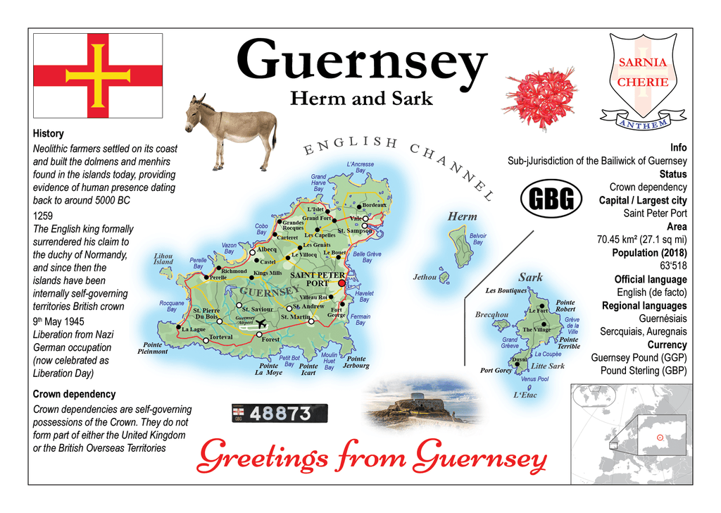 Europe | Guernsey MOTW - top quality approved by www.postcardsmarket.com specialists
