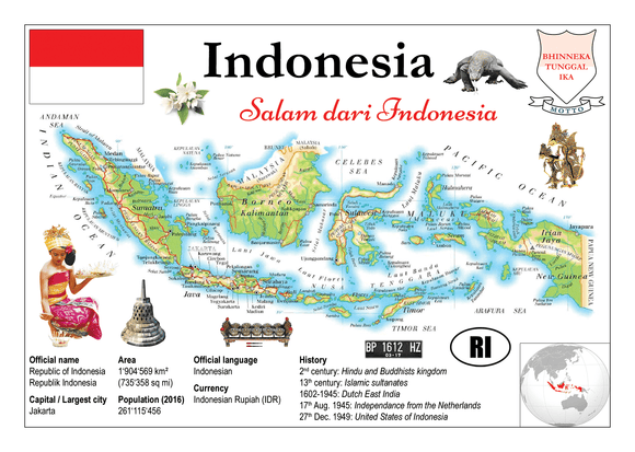 Asia | Indonesia MOTW - top quality approved by www.postcardsmarket.com specialists