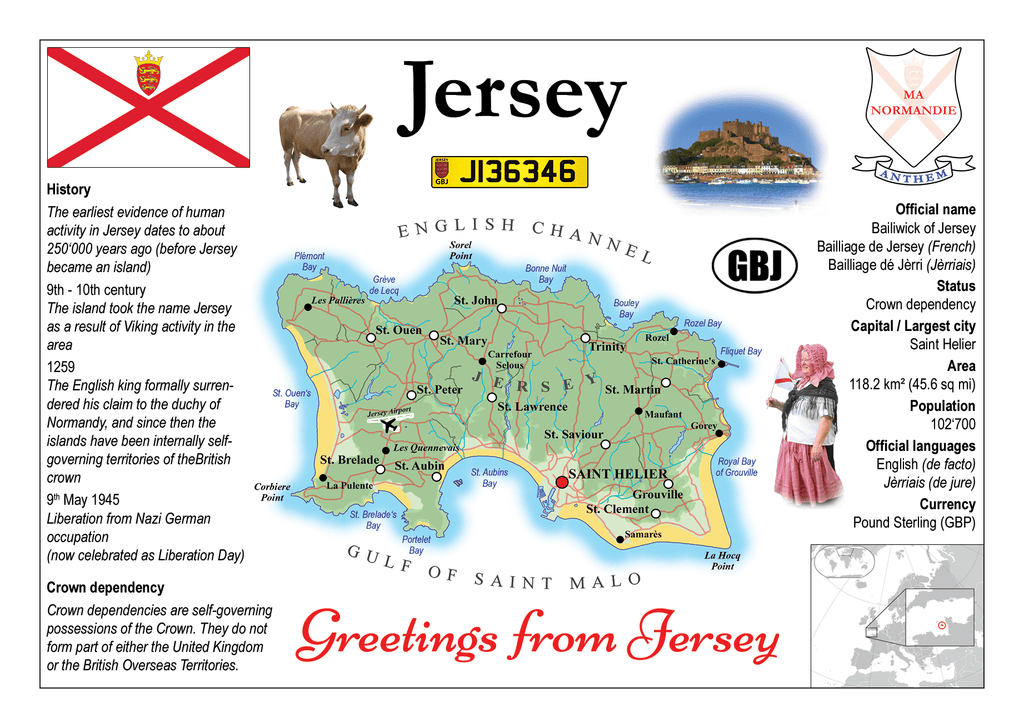 Europe | Jersey MOTW - top quality approved by www.postcardsmarket.com specialists