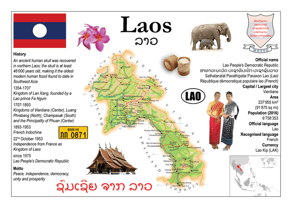 Asia | Laos MOTW - top quality approved by www.postcardsmarket.com specialists