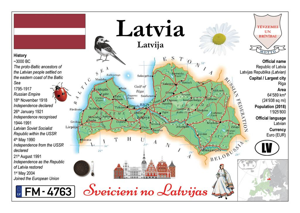 Europe | Latvia MOTW - top quality approved by www.postcardsmarket.com specialists