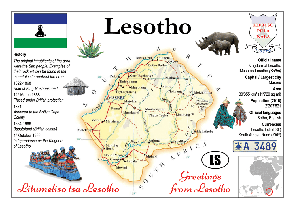 AFRICA | Lesotho MOTW - top quality approved by www.postcardsmarket.com specialists