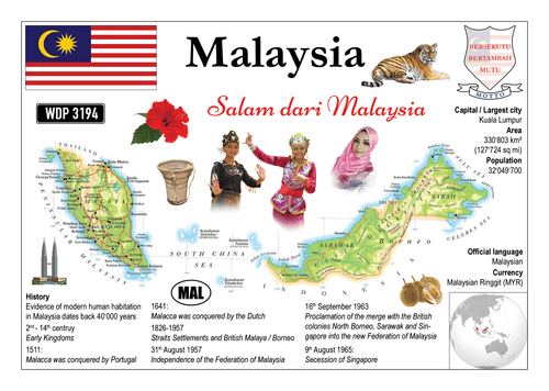 Asia | Malaysia MOTW - top quality approved by www.postcardsmarket.com specialists