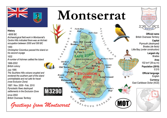 North America | Montserrat MOTW - top quality approved by www.postcardsmarket.com specialists