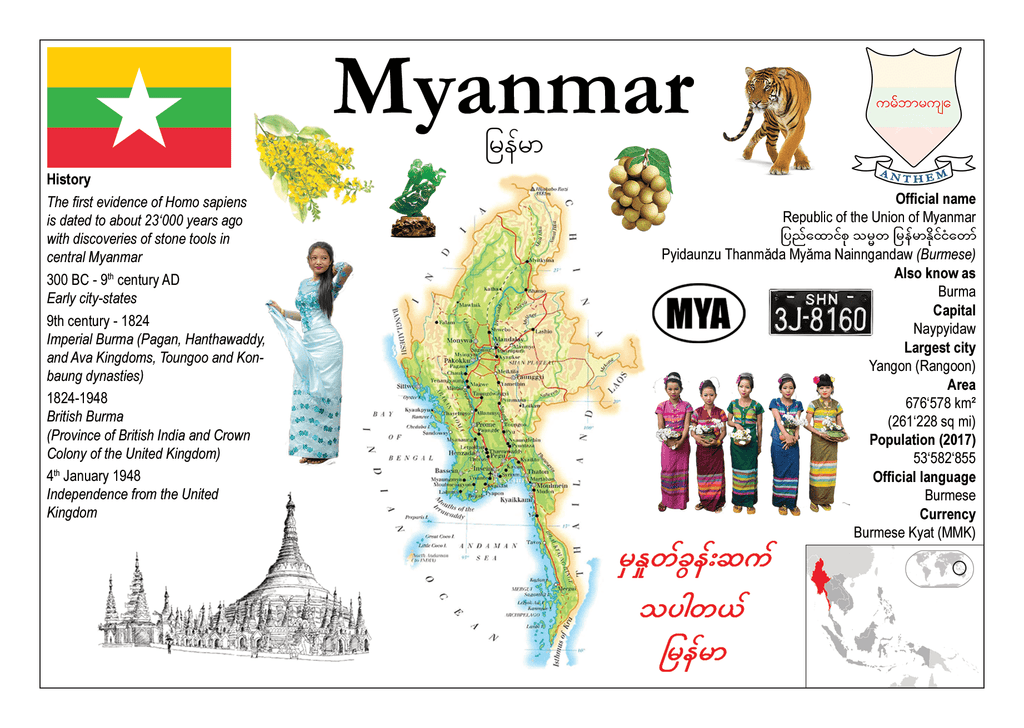 Asia | Myanmar MOTW - top quality approved by www.postcardsmarket.com specialists