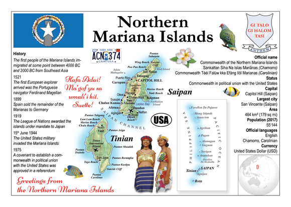 Oceania | Northern Mariana Islands MOTW - top quality approved by www.postcardsmarket.com specialists