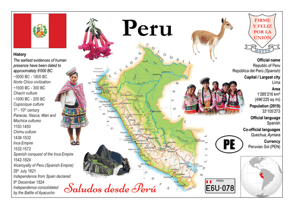 South America | Peru MOTW - top quality approved by www.postcardsmarket.com specialists
