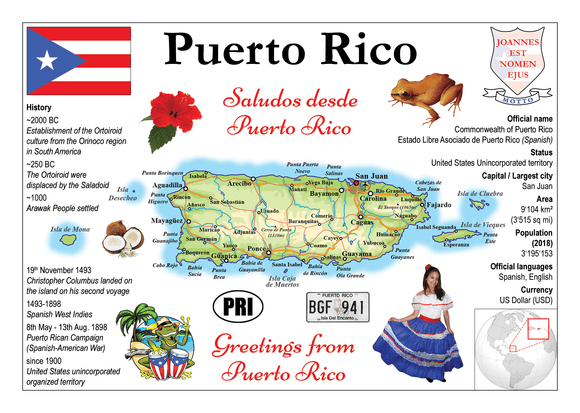 North America | Puerto Rico MOTW - top quality approved by www.postcardsmarket.com specialists