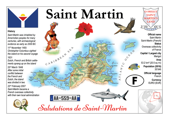 North America | Saint Martin MOTW - top quality approved by www.postcardsmarket.com specialists