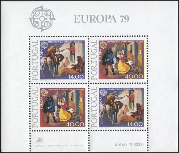 Stamps Europa 1979 Portugal stamps Europa Post & Telecommunication Souvenir Sheet - www.postcardsmarket.com
