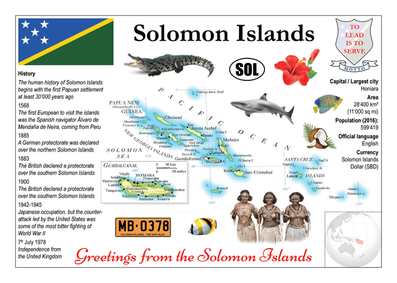Oceania | Solomon Islands MOTW - top quality approved by www.postcardsmarket.com specialists