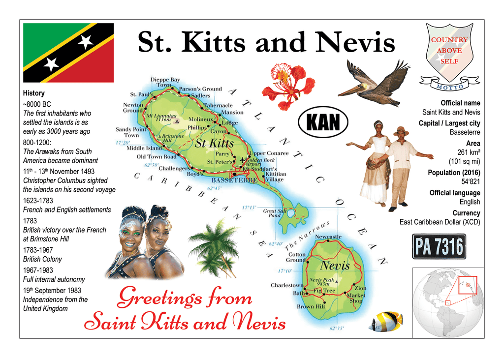 North America | SAINT KITTS AND NEVIS - MOTW - top quality approved by www.postcardsmarket.com specialists