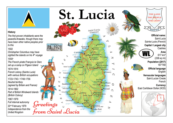 North America | SAINT LUCIA MOTW - top quality approved by www.postcardsmarket.com specialists