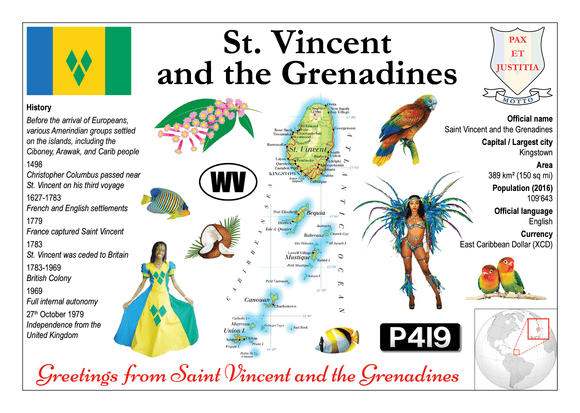 North America | Saint Vincent and the Grenadines MOTW - top quality approved by www.postcardsmarket.com specialists