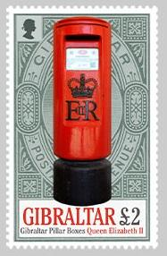 @2016 Pillar Boxes one stamp £2 Stamp  - Gibraltar stamps - www.postcardsmarket.com