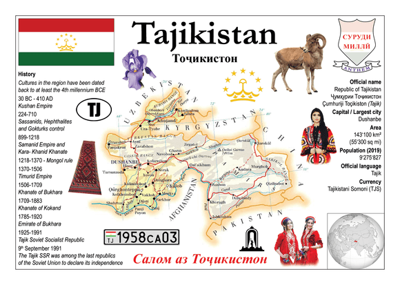 Asia | Tajikistan MOTW - top quality approved by www.postcardsmarket.com specialists